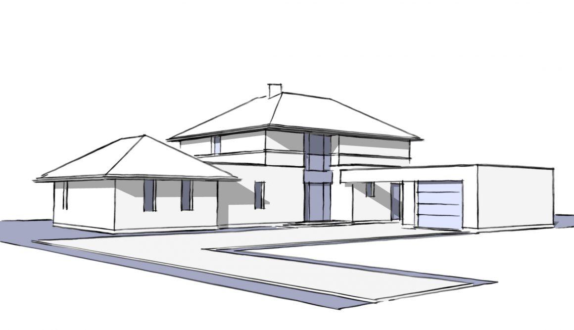 R+1-4-pans-toit-plat-briques-enduit