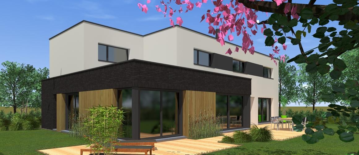cubique-briques noirs-bardage bois-enduit clair-grandes baies