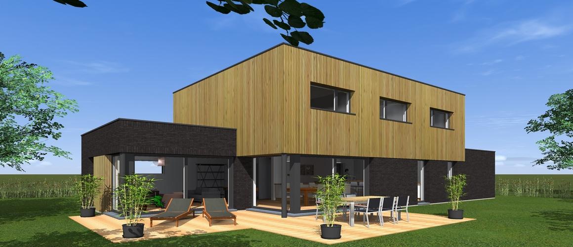 cubique briques noirs bardage bois grandes baie maisons delplanque