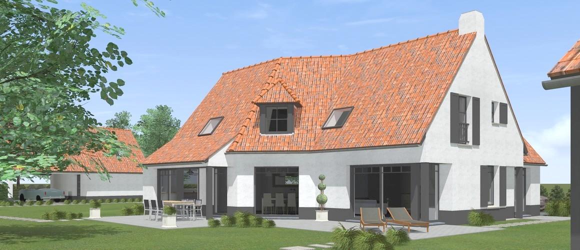 Maisons Michel Delplanque18015 flamande-chaux-tuiles tempetes cottage-grande baie alu anthracite-terrasse-jardin