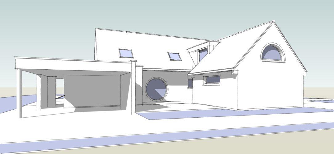 Maisons Michel Delplanque-18016-car port-demi lune-oeil de boeuf-tuiles-briques-enduit-patio