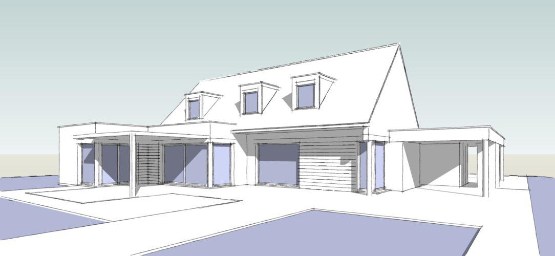 Maisons Michel Delplanque-18016-semi cubique-chassis toit carré-pergola-car port-piscine-jardin