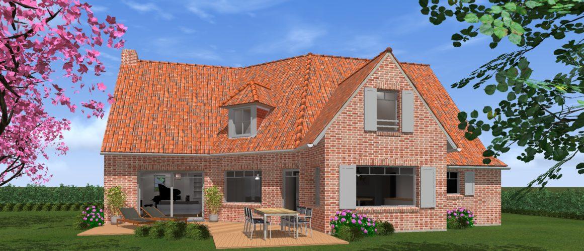 Maisons Michel Delplanque-19011-classique-petit bois-briques joints blancs-flamande-jardin