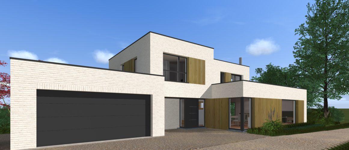 Maisons Michel Delplanque-19014-cubique-briques balnches-bois-grandes baies-entrée
