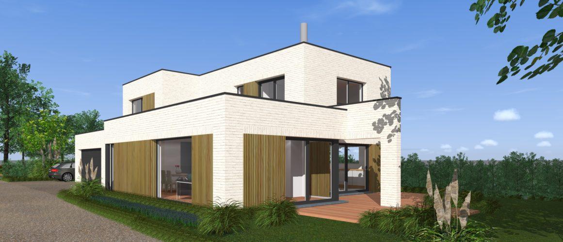 Maisons Michel Delplanque-19014-cubique-briques balnches-bois-grandes baies-jardin