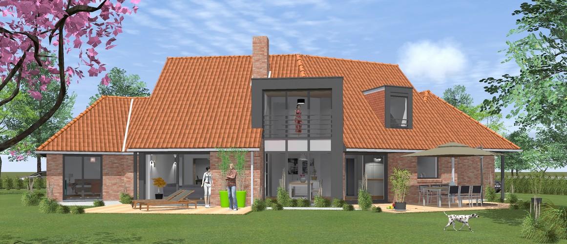 Maisons Delplanque-11018-contemporaine-grande lucarne-terrasse-volume cassé-briques terre cuite-perspective jardin