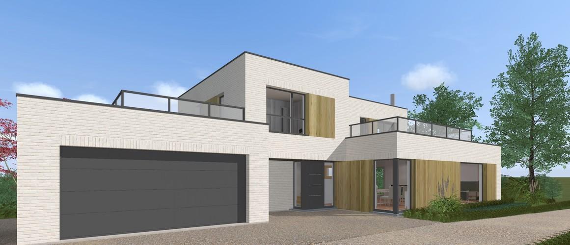 Maisons Delplanque-19014-cubique-briques blanches-toit terrasse-balcon-bardage bois-grandes baies-perspective avant