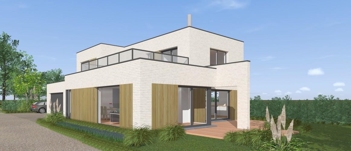 Maisons delplanque-19014-cubique-briques blanches-bardage bois vertical ajouré-balcon-garde corps vitré-perspective jardin