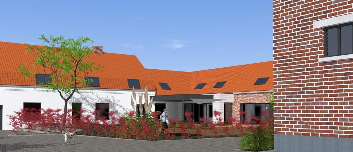 DELPLANQUE M&L-19019-aménagement ferme-extension contemporaine-jardin-bardage bois-terrasse couverte