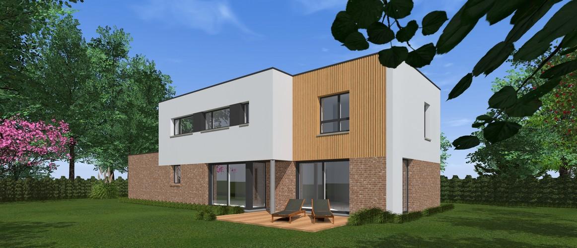 Maisons Delplanque-cubique-grande baie-enduit-briques-bardage bois-pers jardin-20001-lot 1