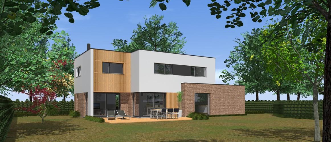Maisons Delplanque-cubique-grande baie-enduit-briques-bardage bois-pers jardin-20001-lot 2