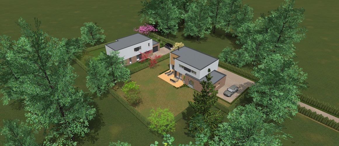 Maisons Delplanque-cubique-grande baie-enduit-briques-bardage bois-pers jardin-20001-vue en hauteur-jardin