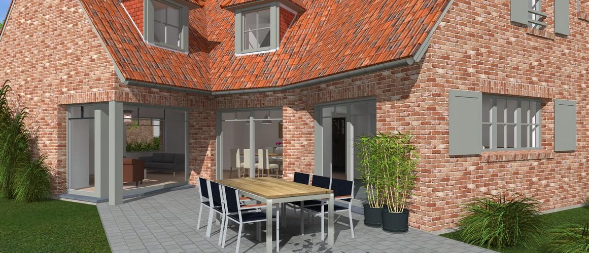 Maisons Delplanque-19001-classique-briques rouges-joints creme-queue de vache-baie angle-vue jardin-terrasse lot 11