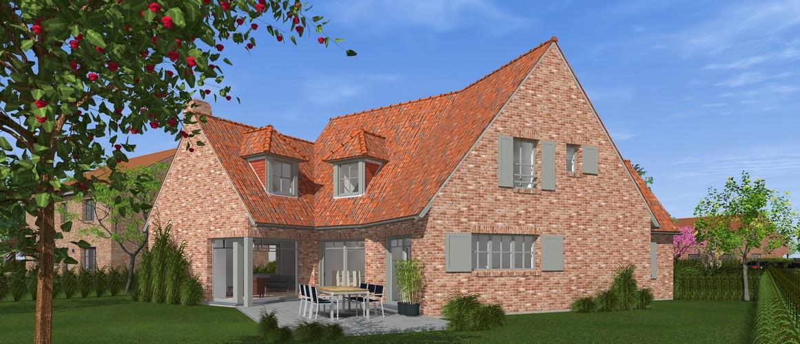 Maisons Delplanque-19001-classique-briques rouges-joints creme-queue de vache-baie angle-vue jardin-vue arrière lot 11