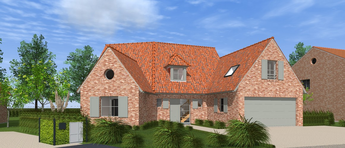 Maisons Delplanque-19001-classique-briques rouges-joints creme-queue de vache-baie angle-vue rue-vue avant lot 11