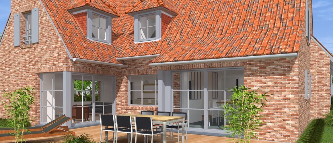 Maisons Delplanque-20013-classique-briques rouges-joints creme-queue de vache-extension-vue jardin-terrasse lot12