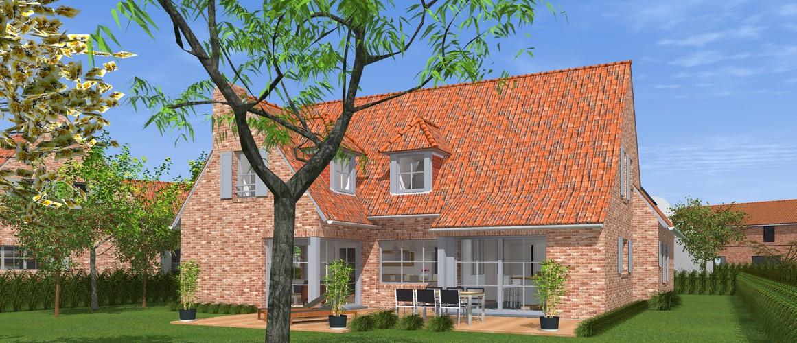 Maisons Delplanque-20013-classique-briques rouges-joints creme-queue de vache-extension-vue jardin-vue arrière lot12