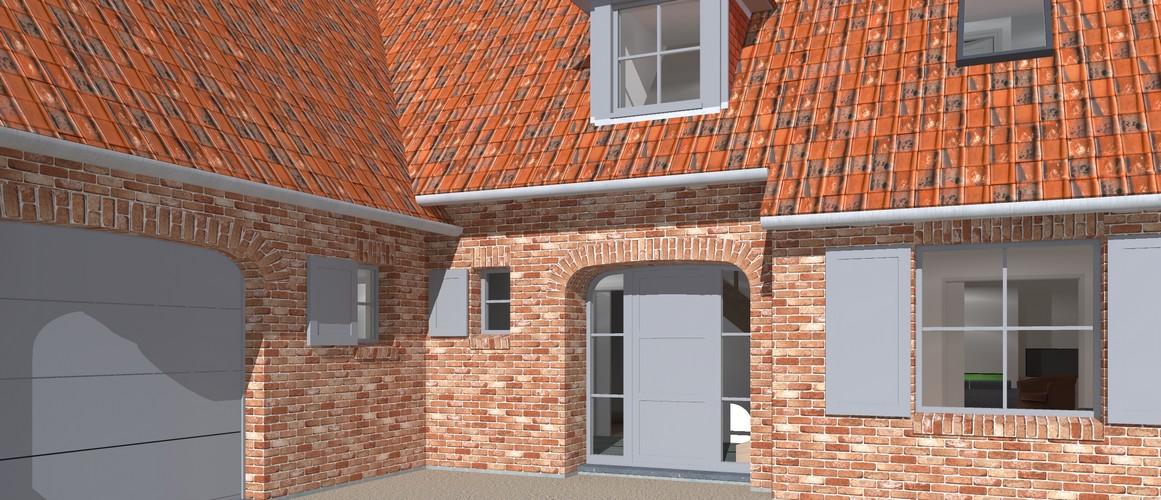 Maisons Delplanque-20013-classique-briques rouges-joints creme-queue de vache-extension-vue rue-vue entrée lot 12