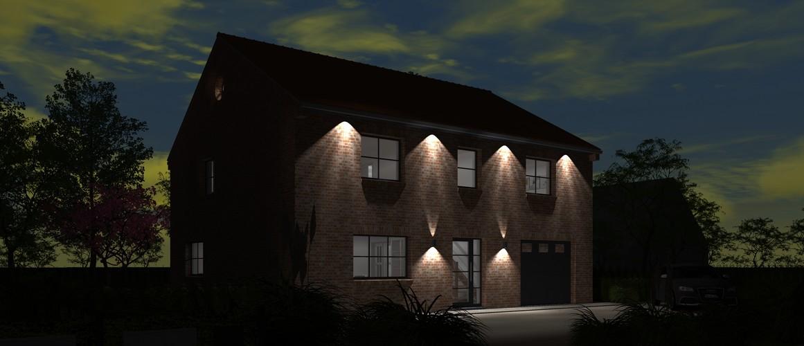 Maisons Delplanque-20013-contemporaine-briques rouges-joints creme-R+1-vue avant lot 10 nuit