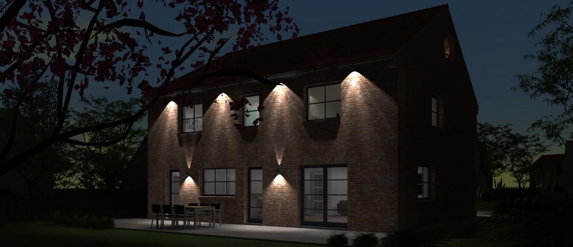 Maisons Delplanque-20013-contemporaine-briques rouges-joints creme-R+1-vue jardin lot 10 nuit