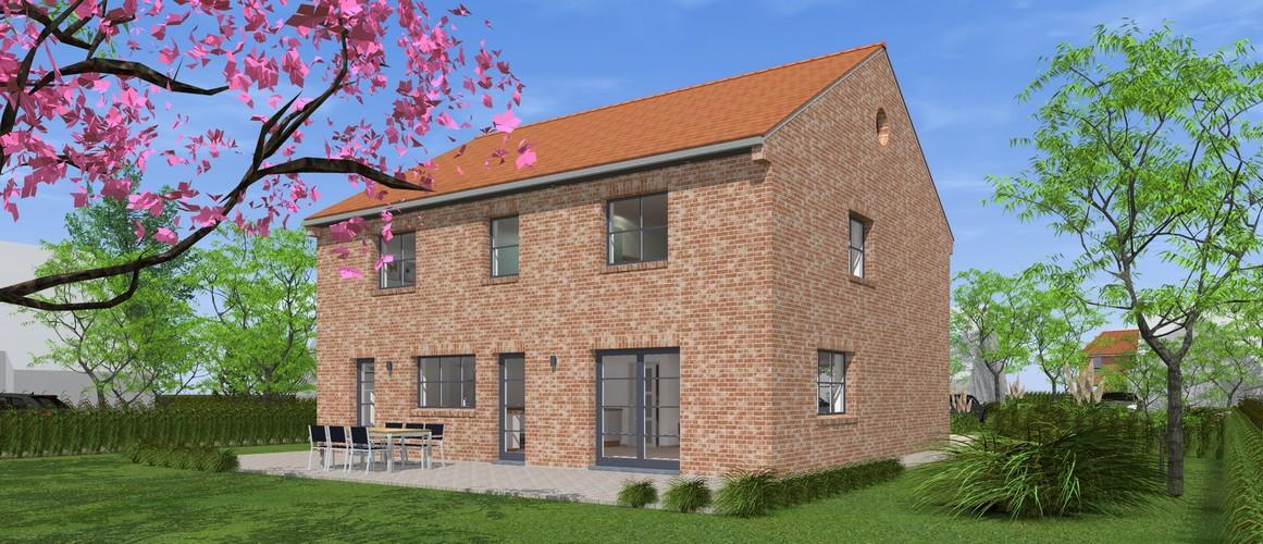 Maisons Delplanque-20013-contemporaine-briques rouges-joints creme-R+1-vue jardin lot 10