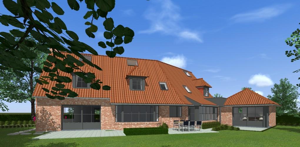 Maisons Delplanque-20017-classique-briques rouges-joints creme-queue de vache-extension-vue jardin