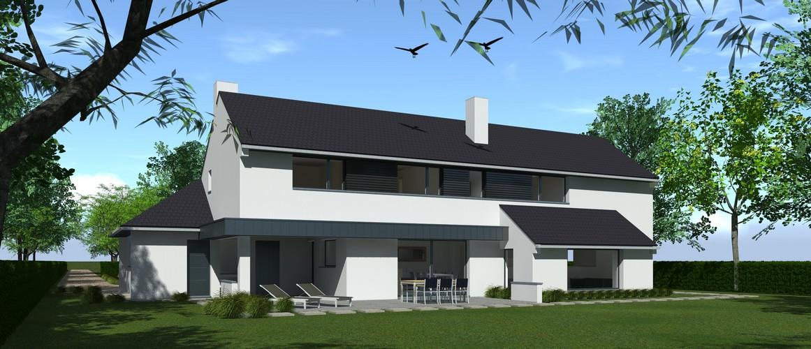 Maisons Delplanque-20024-contemporaine-tuile noir-enduit blanc-bardage métallique-bois brulé-grandes baies-pers arrière