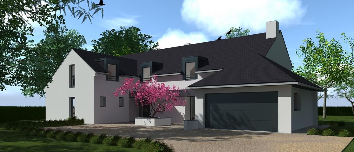 Maisons Delplanque-20024-contemporaine-tuile noir-enduit blanc-bardage métallique-bois brulé-grandes baies-pers avant