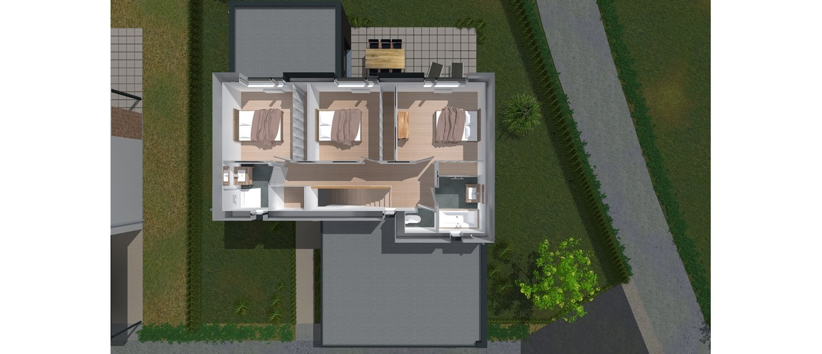 Maisons Delplanque-21002-cubique-enduit clair-briques noires-grandes baies-jardin-etage 3D