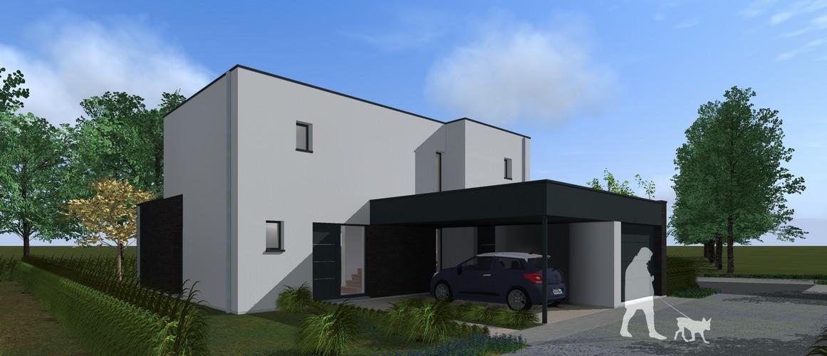 Maisons Delplanque-21002-cubique-enduit clair-briques noires-grandes baies-jardin-pers avant
