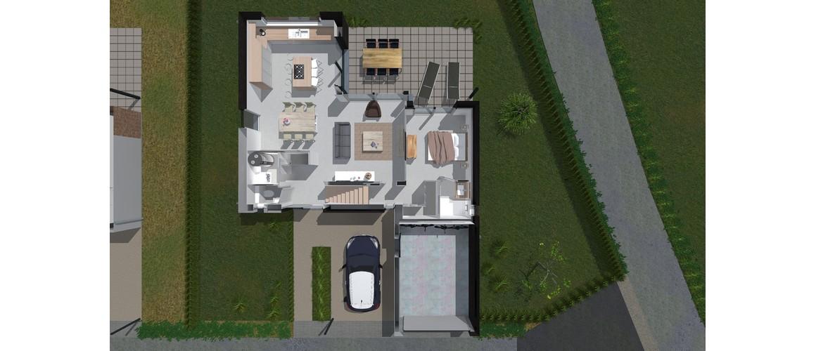 Maisons Delplanque-21002-cubique-enduit clair-briques noires-grandes baies-jardin-rez 3D