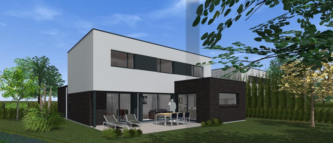 Maisons Delplanque-21002-cubique-enduit clair-briques noires-grandes baies-jardin-terrasse-pers arrière