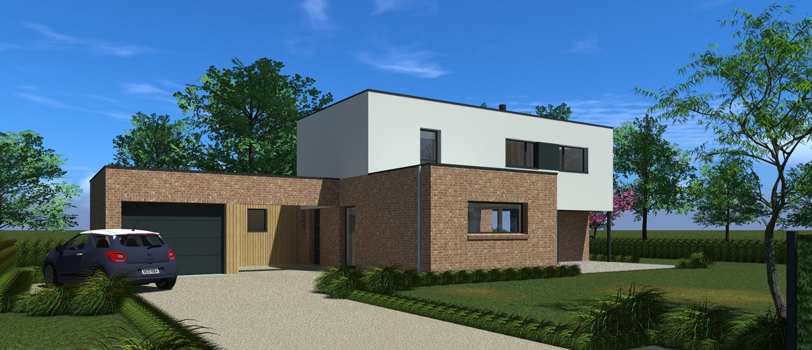 Maisons Delplanque-21006-cubique-briques-enduit-patio-bardage bois pers entrée