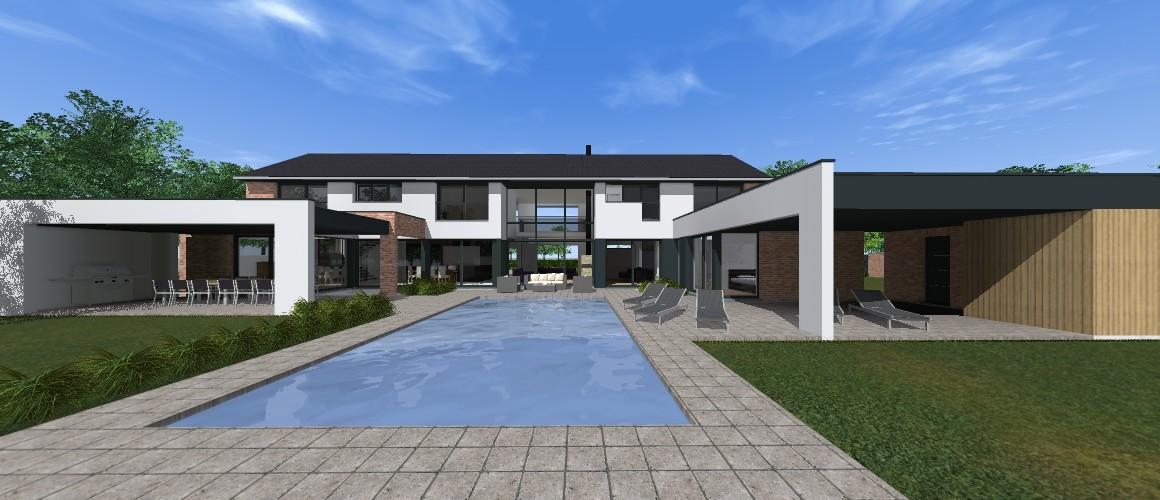 Maisons Delplanque-21013-contemporaine-briques-enduit-bardage bois-terrasse couverte-pool house-piscine-pers jardin